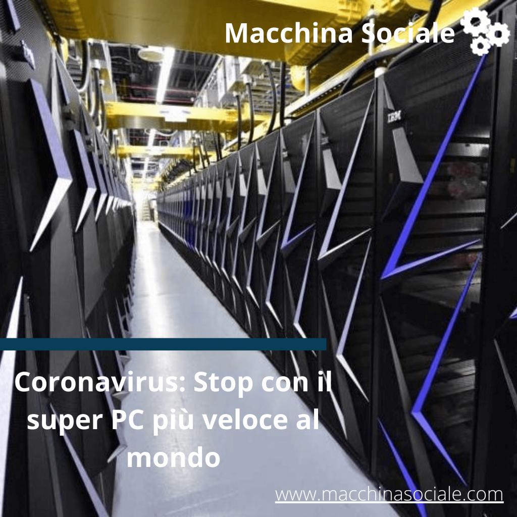 Coronavirus: Stop con il super PC più veloce al mondo