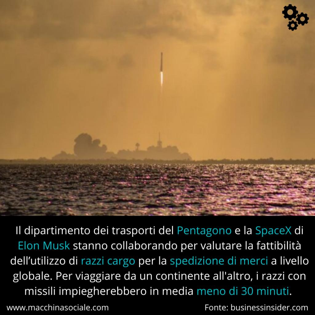 Il dipartimento dei trasporti del Pentagono e la SpaceX di Elon Musk